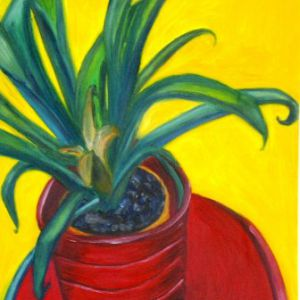 Plant-in-red-pot-I-40x50-Eric-Ware-Big